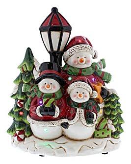 Musical Snowman Family Scene
