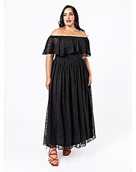 Lovedrobe Luxe Black bardot Maxi Dress