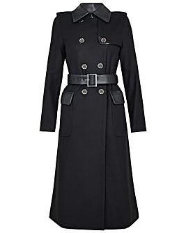 Monsoon Anne Trench Coat in Wool Blend