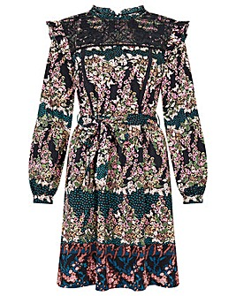 Monsoon Embroidered Chest Printed Dress