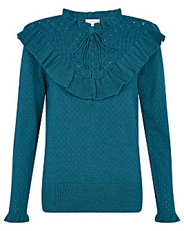 Monsoon Ronnie Ruffle Lace-Up Jumper
