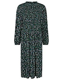 Monsoon Floral Print Shirred Midi Dress