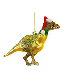 Glitter Santasaurus Shaped Bauble