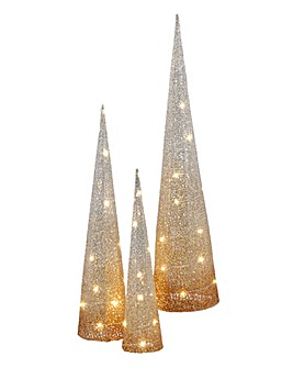 Set of 3 Lit Gold Ombre Cone Trees