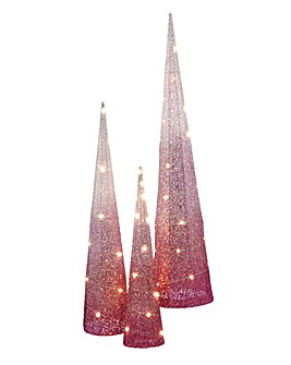 Set of 3 Lit Pink Ombre Cone Trees
