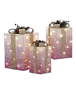 Set of 3 Lit Ombre Christmas Parcels