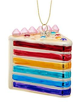 Rainbow Cake Slice Shaped Bauble