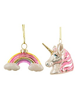 Rainbow Unicorn Shaped Baubles