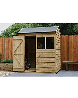 Forest Overlap Pressure Treated 6x4 Reverse Apex Shed with Installation