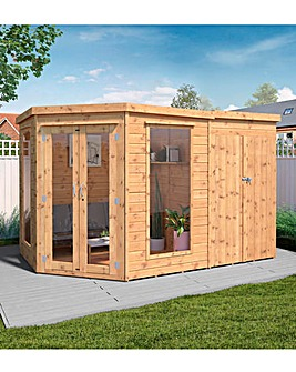 Mercia 7 x 11 Premium Corner Summerhouse With Side Shed