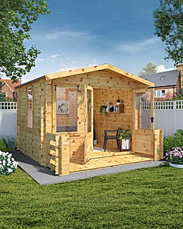 Mercia 3.3m x 3.7m Log Cabin with Veranda - 19mm