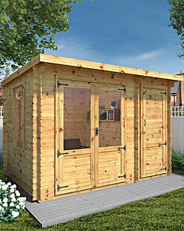 Mercia 3.5m x 2.4m Pent Log Cabin With Side Shed - 19mm