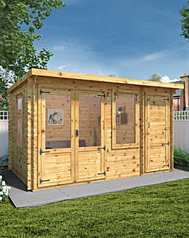 Mercia 4.1m x 2.4m Pent Log Cabin With Side Shed - 19mm