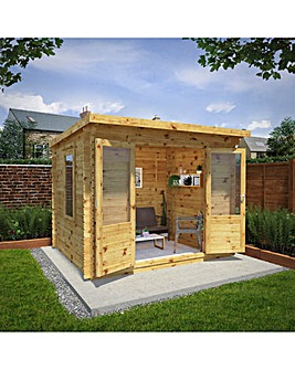 3m x 2.5m Pent Log Cabin - 28mm - Double Glazed