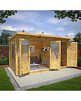 4.1m x 2.5m Pent Log Cabin with Side Shed - 28mm - Double Glazed