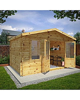 4m x 3m Retreat Log Cabin - 28mm Double Glazed