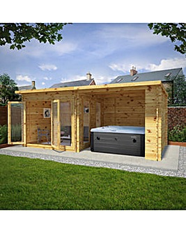 6m x 3m Studio Pent With Outdoor Area - 28mm - Double Glazed
