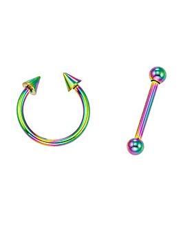 Titanium Rainbow Eyebrow Accessories