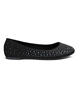 Brandy Studded Ballerina Ex Wide fit