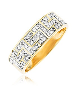 9 Carat Gold And Diamond Greek Key Band Ring