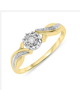 9 Carat Gold and Diamond Fancy Band Ring