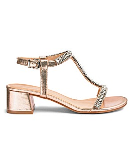 Kara Diamante Block Heels Extra Wide Fit