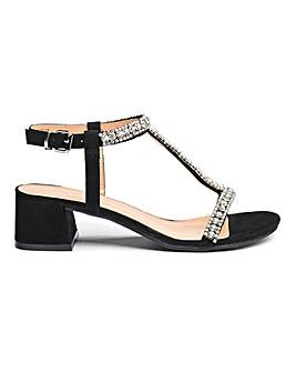Kara Diamante Blocks Heel Wide Fit