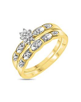 9ct Gold Diamond 2 Piece Bridal Set