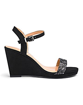 Loren Glitter Strap Wedge Wide Fit