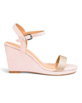 Loren Diamante Buckle Wedge Wide E Fit