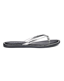 Zenda Studded Sole Flip Flop Wide Fit