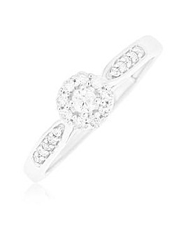9 Carat White Gold And 1/4 Carat Diamond Ring Including Diamond Set Shoulders