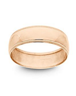 9 Carat Rose Gold Millgrain Edge D Shape 6mm Wedding Ring