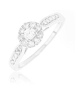 9 Carat White Gold And 1/2 Carat Diamond Ring Including Diamond Set Shoulders