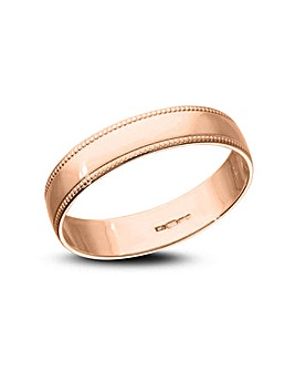 9 Carat Rose Gold Millgrain Edge D Shape 4mm Wedding Ring