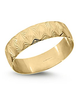 9 Carat Gold Diamond Cut Fan Design D Shape Wedding Ring