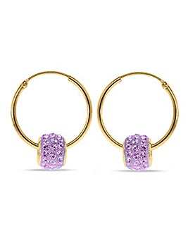 Crystal Glitz 9 Carat And Purple Crystal Hoops