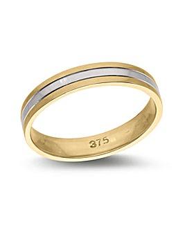9 Carat Two Tone Gold 4mm Wedding Ring