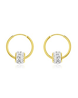 Crystal Glitz 9 Carat And White Crystal Hoops