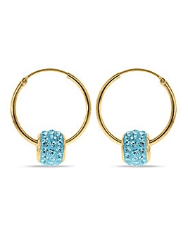 Crystal Glitz 9 Carat And Blue Crystal Hoops