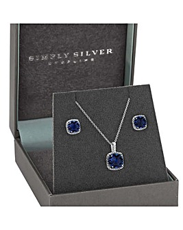 Sterling Silver 925 Cubic Zirconia  Blue Square Halo Matching Set