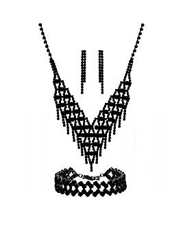 Jet Plated Black Diamante 3 Piece Set