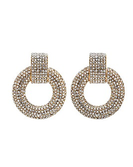 Lipsy Gold Crystal Door Knocker Earrings