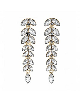 Lipsy Gold Crystal Leaf Drop Earrings