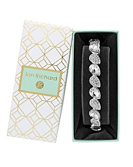 Silver Plated Crystal Pear Stretch Bracelet - Gift Boxed