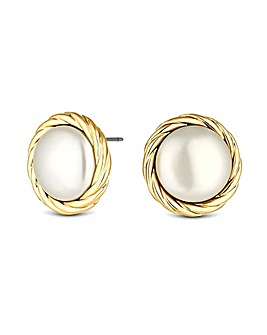 Jon Richard Gold Polished Pearl Earrings