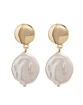 Gold Plated Fresh Water Pearl Drop Earrings