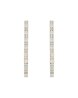 Mood Gold Crystal Baguette Drop Earrings