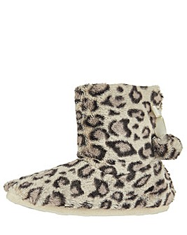 Accessorize Furry Leopard Print Boot