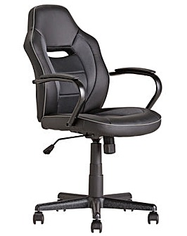 Faux Leather Mid Back Gaming Chair - Black